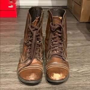 Steve Madden Troopa Boots Brown Combat Boots